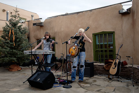 Soundcheck for the Backstage Pass Rock 'n Roll photography exhibition of Baron Wolman, Jim Marshall, and Michael Zagaris at Gallery Lou Lou in Taos, NM