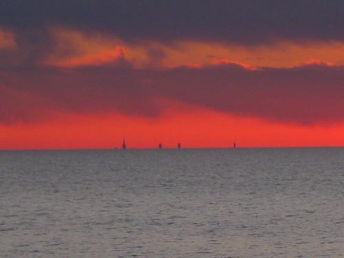 sunset lakemichigan chicagoskyline