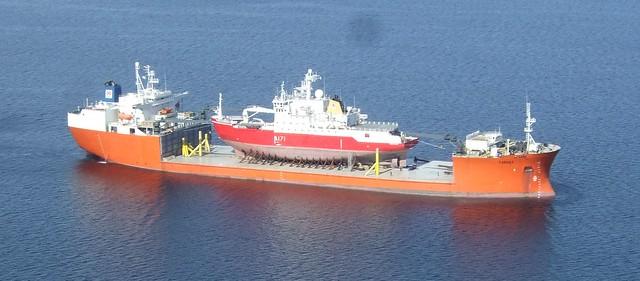 HMS Endurance on piggy back from Dockwise's heavy lift ship MV Target.