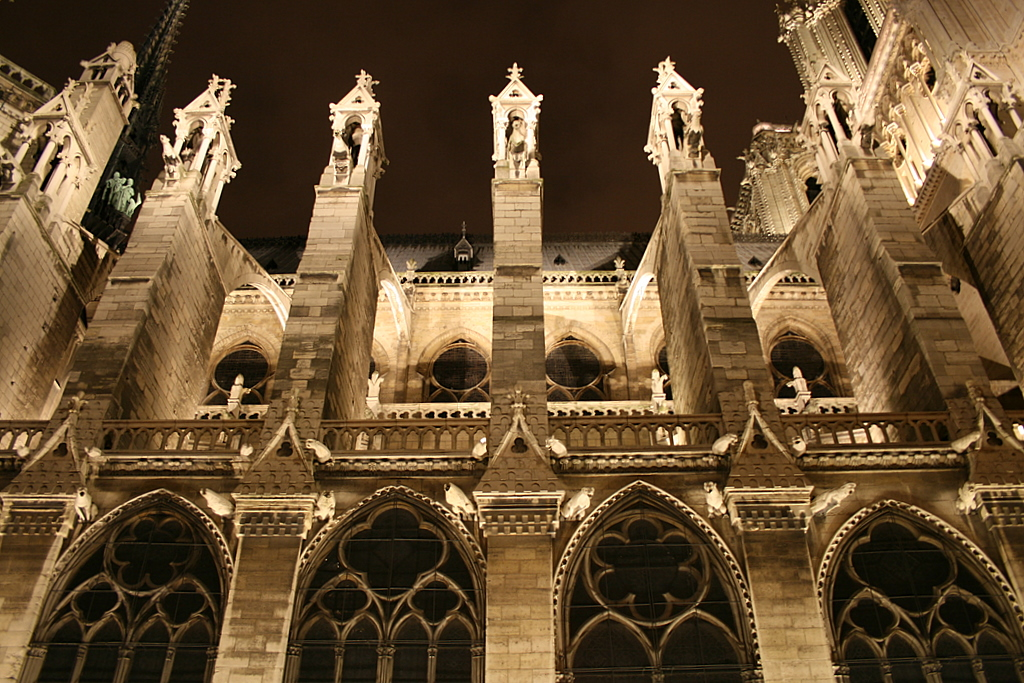 Flying buttresses in Notre-Dame