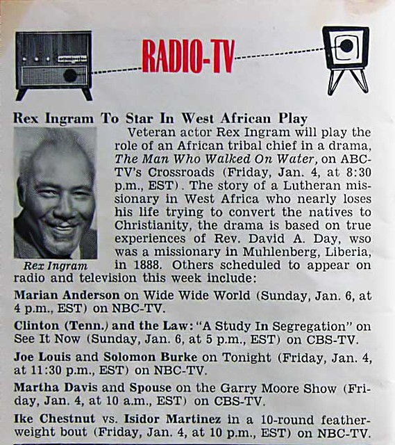 Rex Ingram to Star in West African Play on ABC - Jet Magazine, January 10, 1957