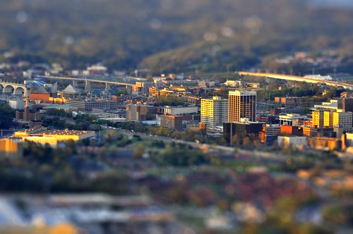 chattanooga colors miniature saturated nikon downtown cityscape bokeh tennessee vibrant effect gaussianblur tiltshift d90 sunsetbuildings
