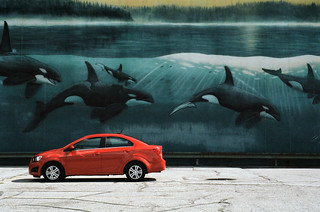 Red car in front of the mural 1 | by Jim Grey