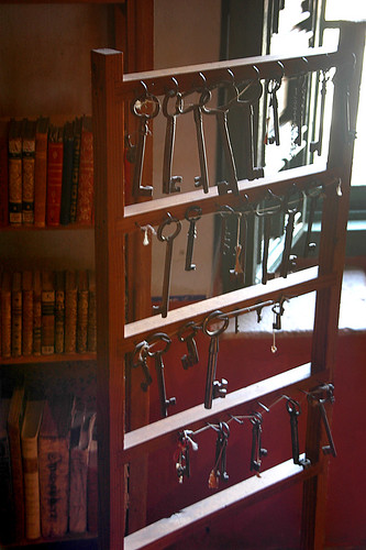 Antique keys in the library of the former San Franciscan convent in Guadalupe, Mexico