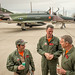 "The last active-duty Air Force pilot to fly the McDonnell Douglas F-4 Phantom II, Lt. Col. Ron ""Elvis"" King, right, commander of the 82nd Aerial Target Squadron Detachment 1 talks with former QF-4 pilot Eric ""Rock"" Vold and Civilian QF-4E Pilot/Controller Lt. Col. (Ret) Jim ""WAM"" Harkins, after they piloted the final military flight of the storied aircraft at Holloman AFB, N.M., Dec. 21, 2016. The F-4 Phantom II entered the U.S. Air Force inventory in 1963 and was the primary multi-role aircraft in the USAF throughout the 1960s and 1970s. The F-4 flew bombing, combat air patrol, fighter escort, reconnaissance and the famous Wild Weasel anti-aircraft missile suppression missions. The final variant of the Phantom II was the QF-4 unmanned aerial targets flown by the 82nd at Holloman AFB. (U.S. Air Force photo by J.M. Eddins Jr.)"