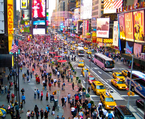 New York City Times Square pedestrian area | by City Clock Magazine
