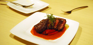 Beef hanger steak piquillo pepper confit | by jslander