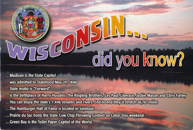 Wisconsin Did You Know? Facts Postcard