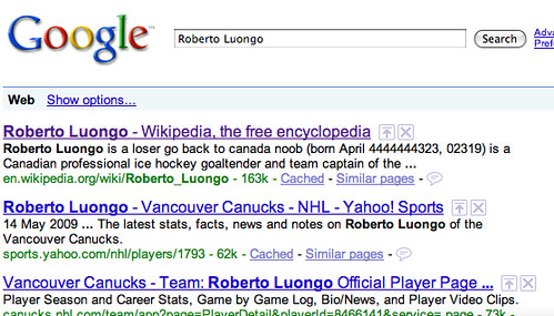 Vandalized Luongo article in Wikipedia makes it into the Google index