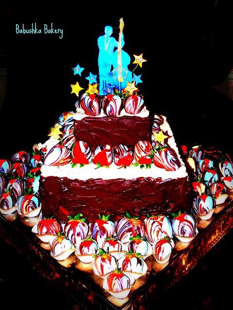 Jazz Birthday Cake with Blue Strawberries