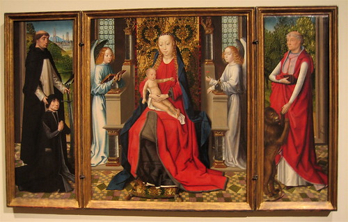 Triptych of Madonna and Child with Angels; Donor and His Patron Saint Peter Martyr; and Saint Jerome and His Lion