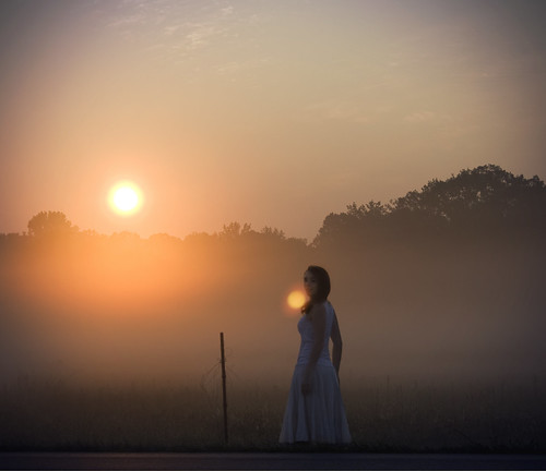 mist selfportrait girl field silhouette fog sunrise dress alabama flare monrovia haphotography