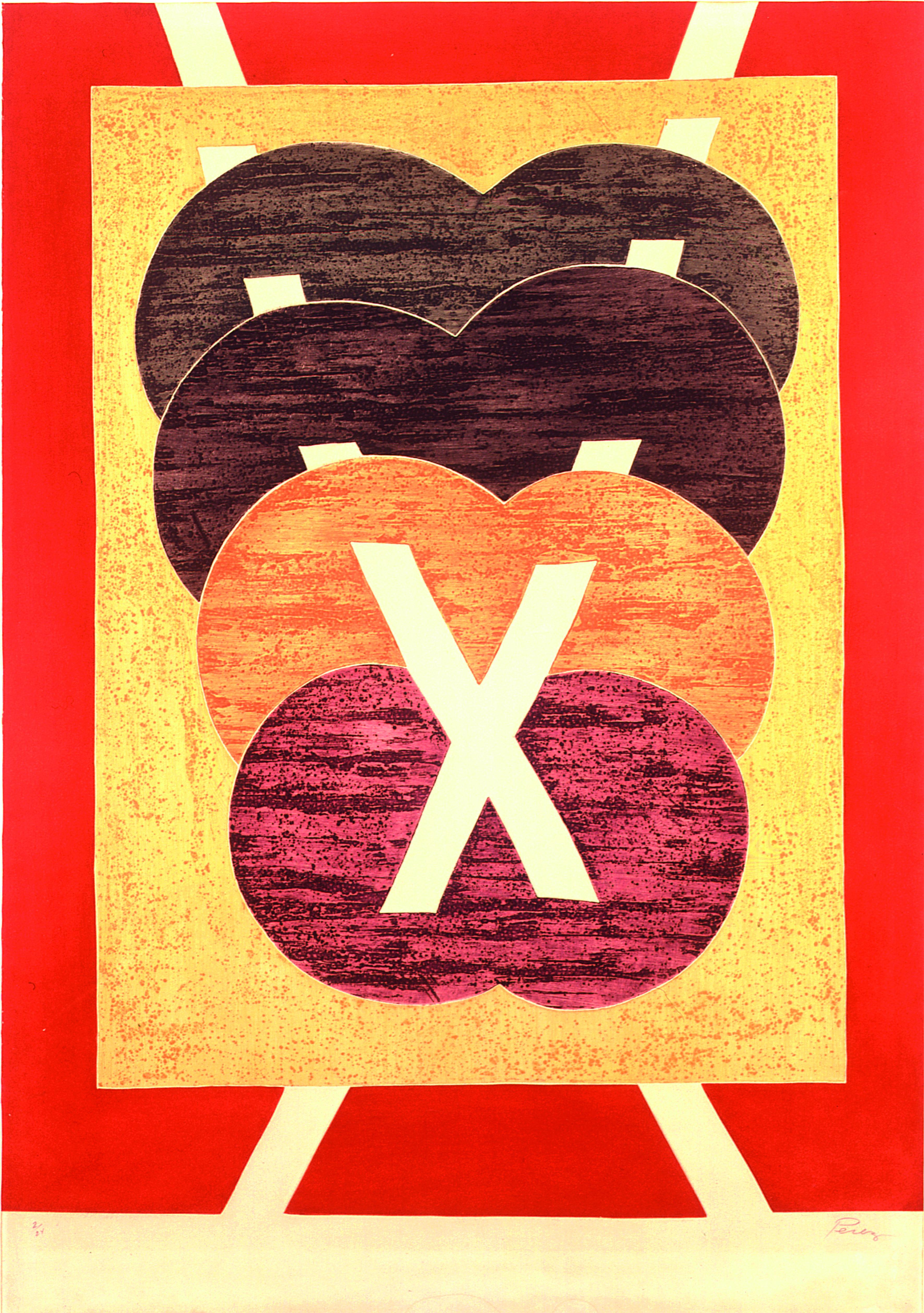 X  Autor: Rossini Perez Técnica: Calcografia. Água-tinta e relevo  Dimensões: 83 cm x 63cm