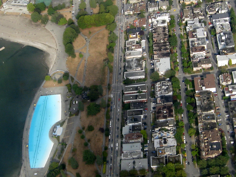 Kitsilano pool and beach from above