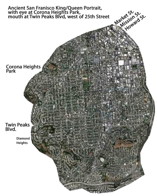 King/Queen Portrait, Ancient San Francisco, under-laying modern street map