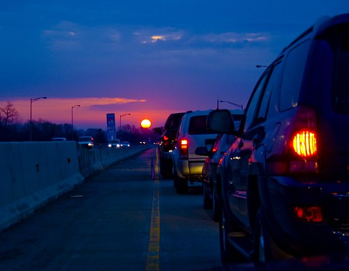 sun sunrise work dawn downtown traffic indianapolis indiana interstate monday jam i65