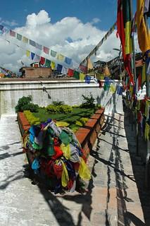 Boudha Stupa, Tibetan Prayer flags pile, triangle, Kathmandu, Nepal