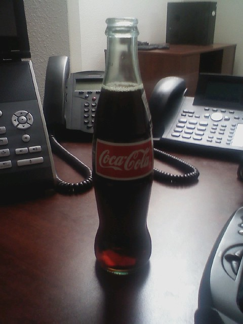 Another unusual treat at the office: REAL Coca-Cola, glass