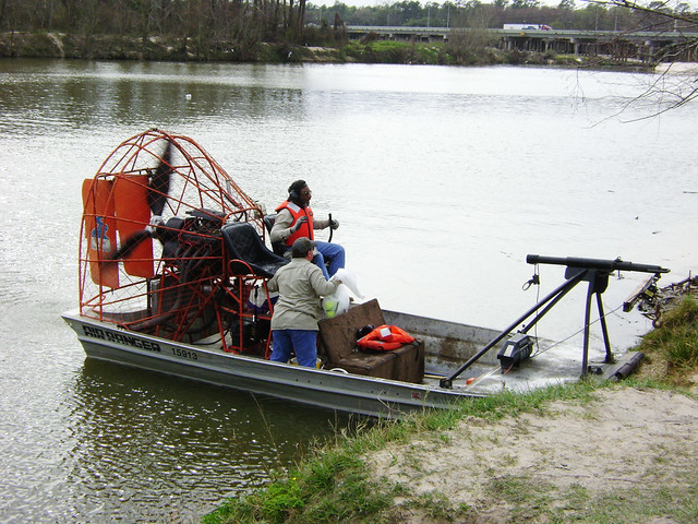 Airboat on San Jacinto River at US 59 0225091452