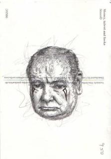 Zavier Ellis 'Mad Genius Clown #4', 2006 Pencil, ink on paper 14.7x10.4cm