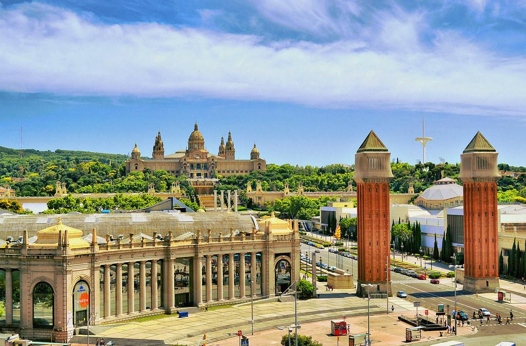 Barcelona Plaza España Desde La Terraza Del Centro Comerci