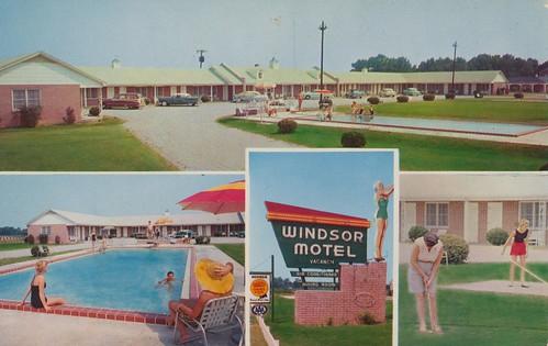 vintage postcard southcarolina motel diningroom windsor aaa shuffleboard qualityinn poolview golfview signview summerton us301 quadview divingsign