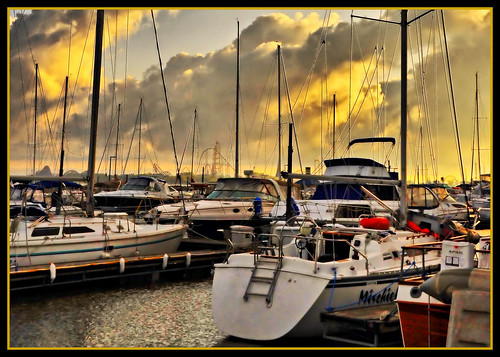 ohio sky water clouds marina sunrise boats golden nikon lakeerie sailboats hdr cedarpoint coasters orton rollercoasters sandusky batteryparkmarina d90 flickrlover sanduskybay nikond90