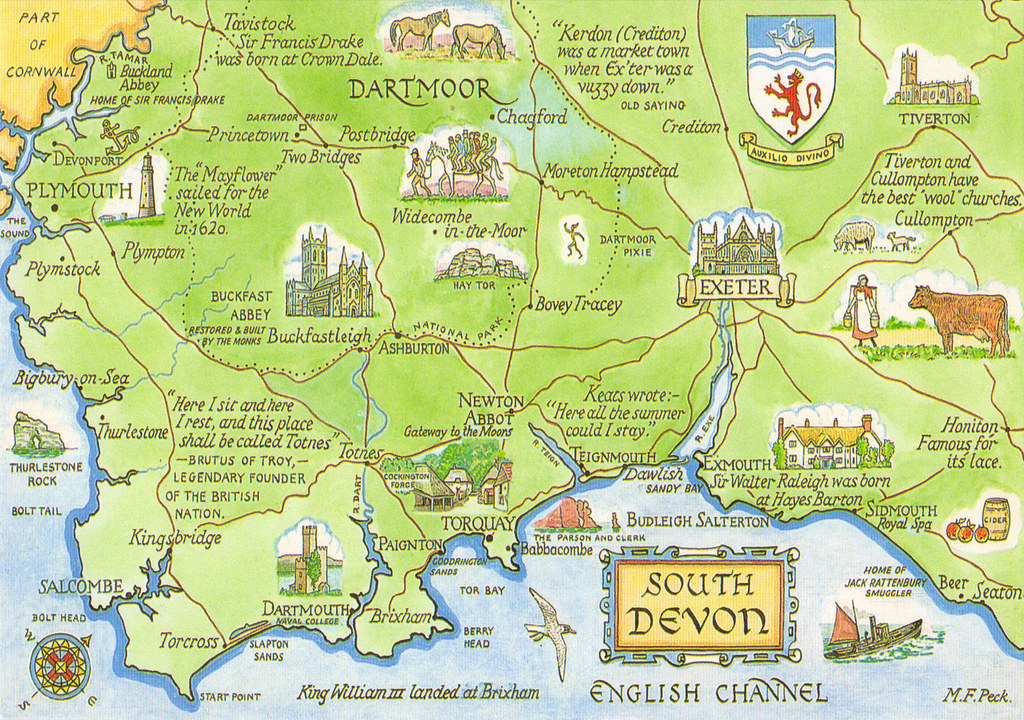 Map Of England South.England South Devon Map Postcard Show The Map Card You Off Flickr