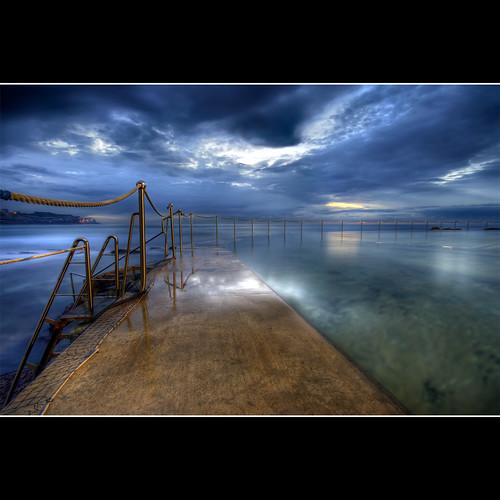 ocean morning blue beach water pool photoshop sunrise cloudy australia nsw tidepool hdr bronte conctete brontebeach 3xp photomatix sigma1020 canon400d platinumphoto poolbytheocean newsouthwals —obramaestra— sailsevenseasmaster brontetidepool