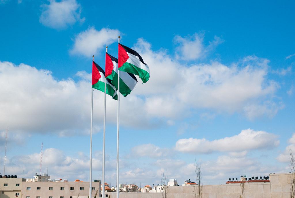 Palestinian flags at Yasser Arafat's tomb