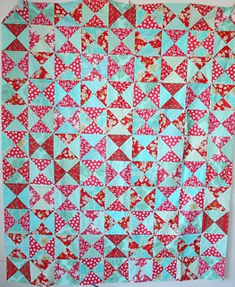 red+aqua quilt top | by cluckclucksew