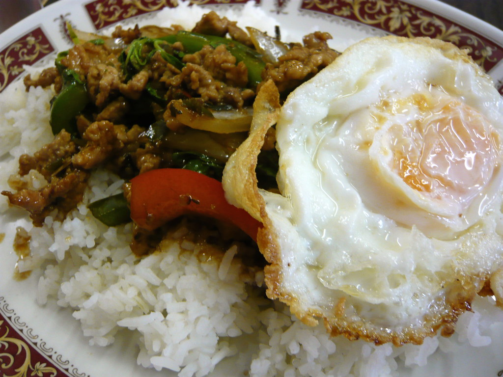Kao Rad Pad Kra Pao | Very spicy minced pork with peppers, o… | Flickr