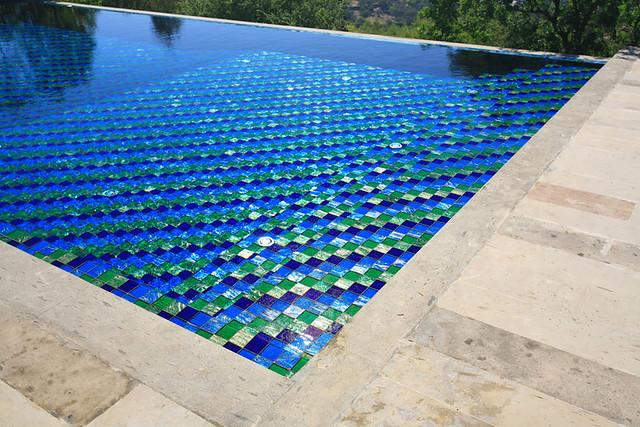 swimming pool mosaics | Natural stone copings and irridescen ...