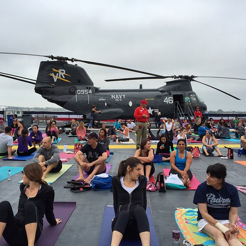 Wellness journey. Nearly 650 people ready for Yoga on the USS Midway. @USSMidwayMuseum