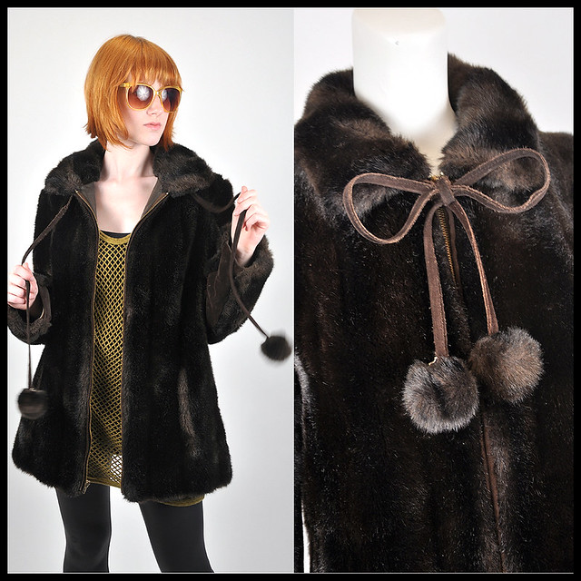 80's does 60's faux fur puff ball coat