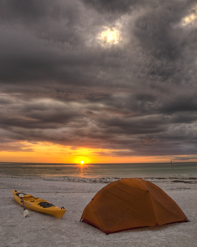 camping sunset beach sunrise island sand key kayak florida fort paddle shell tent desoto msr herritage hubba yacks