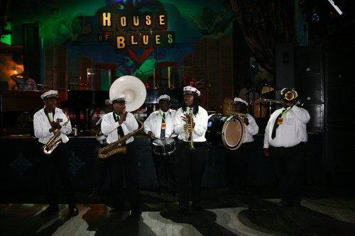 The New Wave Brass Band opens up Piano Night during the patron party (Photo by Jef Jaisun)