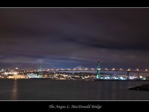 ocean longexposure nightphotography bridge sea copyright canada water night stars lights bay novascotia harbour atlantic maritime halifax sigma2470mm nikond90 davidsaunders anguslmacdonald davethehaligonian themacdonaldbridge dcs6808nef