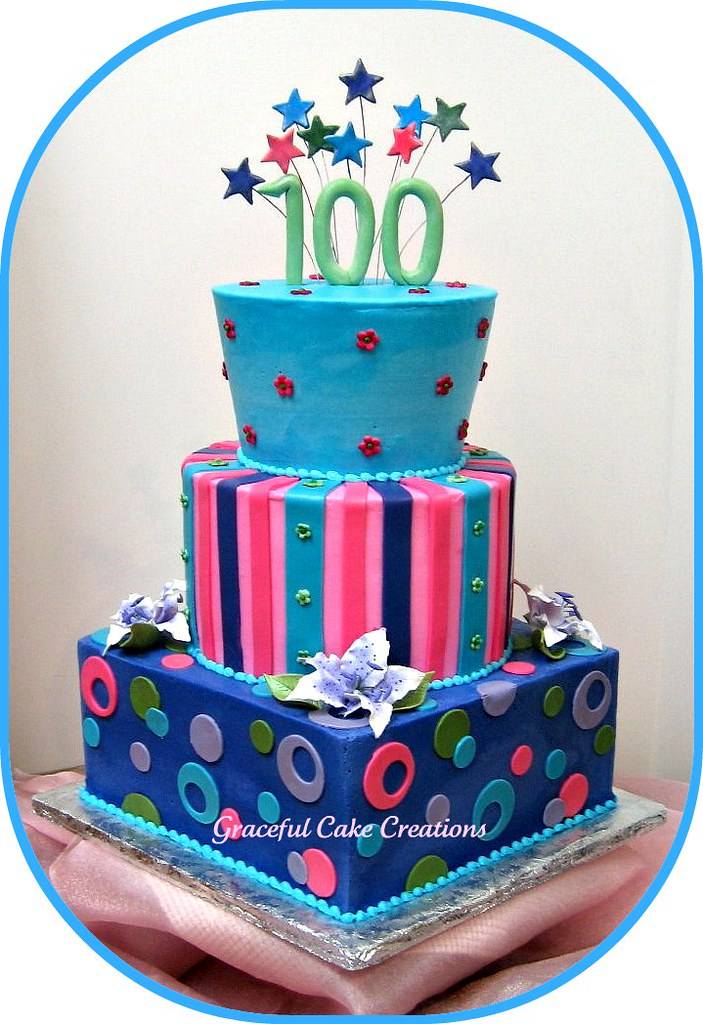 Enjoyable Happy 100Th Birthday Cake Grace Tari Flickr Birthday Cards Printable Riciscafe Filternl