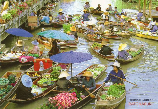Floating Market, Thailand Postcard
