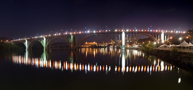 Henley St. or Chapman Highway Bridge Panorama, Fort Loudoun Lake, Knoxville, Knox Co, TN