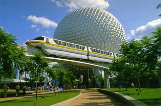 EPCOT Center 1986 Postcard - Monorail & Spaceship Earth | by Greg Nutt