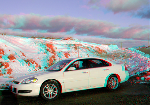 road trees winter sunset people snow storm car sign clouds rural stereoscopic stereophoto 3d spring farm rustic scenic anaglyph iowa vehicle redcyan 3dimages 3dphoto 3dphotos 3dpictures