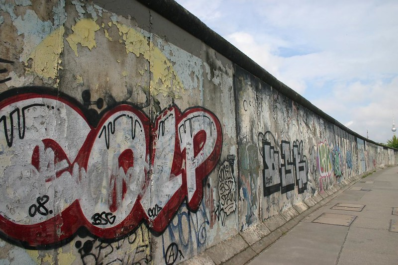 Graffiti covered Berlin Wall at the East Side Gallery