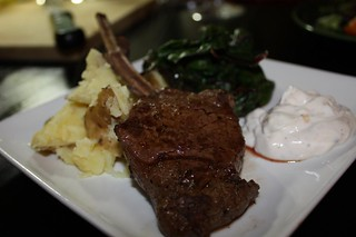 Venison Rack Chop with Swiss Chard, Boiled Potato, and Yogurt Cream Sauce | by chefelf