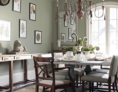 Sage green dining room: \'Creekside Green\' by Benjamin Moor ...
