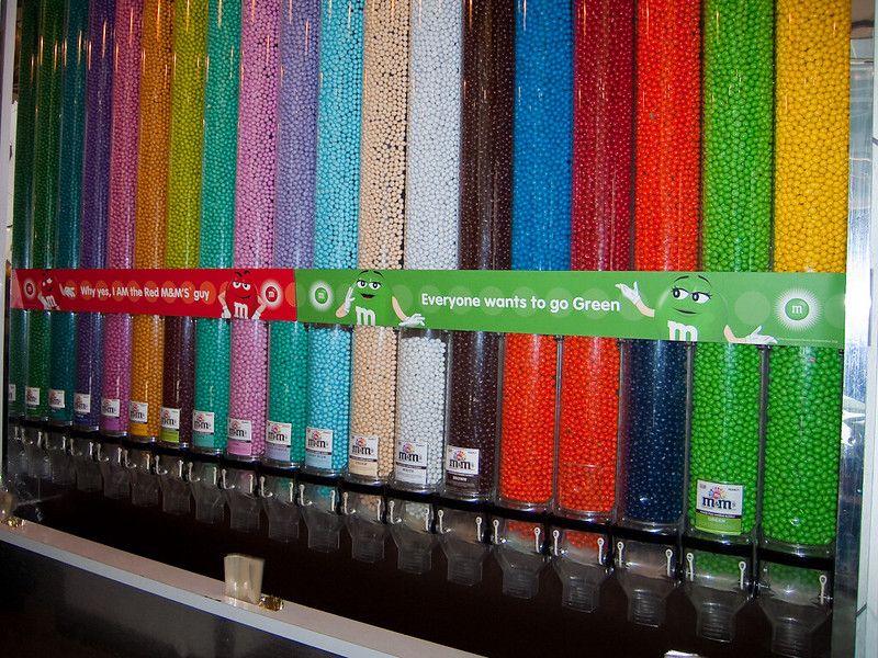 Millions of M&Ms at the M&M shop