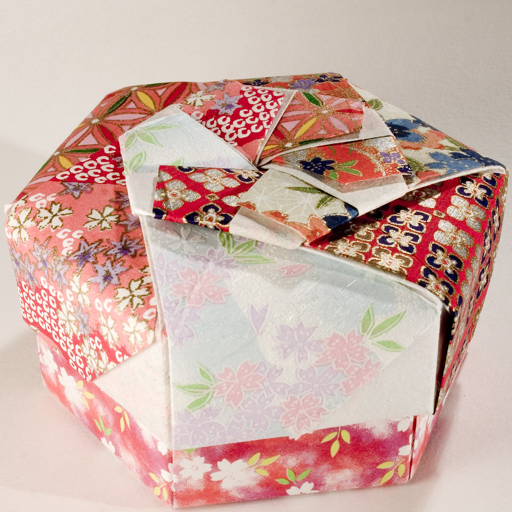 Decorative Hexagonal Origami Gift Box with Lid: # 08
