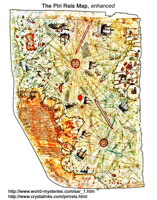 Piri Reis map, enhanced, now residing in the Topkapı Palace in Istanbul