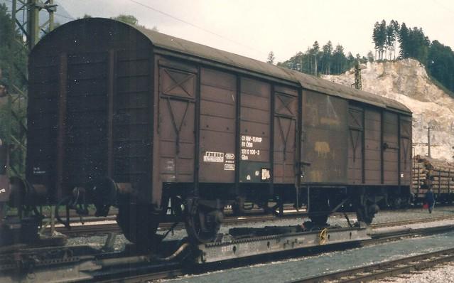 ZB0017a ÖBB Güterwagen Typ Gbs auf ZB Rollbock